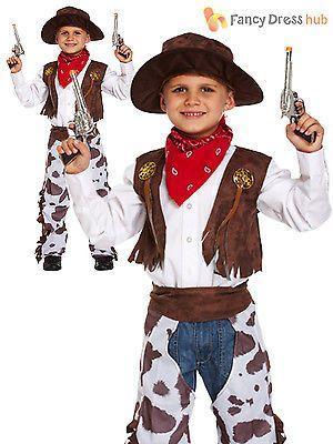 Cowboy Age 5 6 7 Kids Western /& Indians Fancy Dress Childs Boys Costume Hat