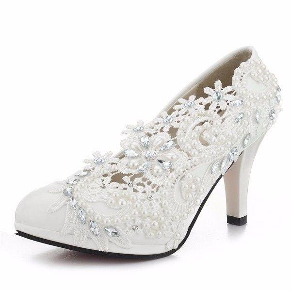 Women's Wedding Shoes White Floral Lace Rhinestone Bridal