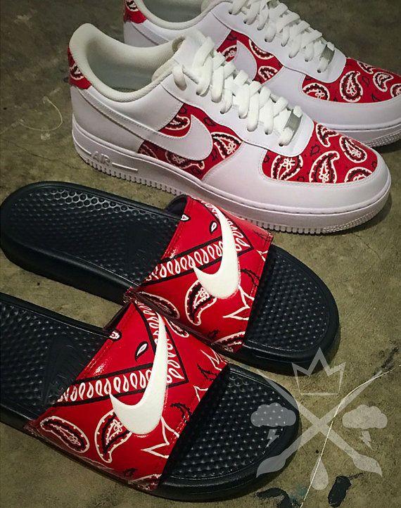 644c883a4 Nike Custom Red Bandana Benassi Swoosh Slide by DrippedCustomz ...