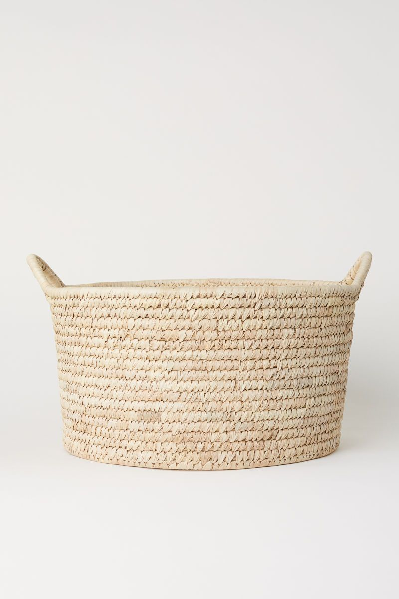 Natural Short Wide Storage Basket In Braided Straw With Two