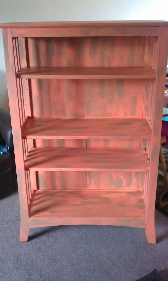 revamp book case: its made of particle board so no sanding needed. Painted 2 different colors, to give the shabby sheek look.