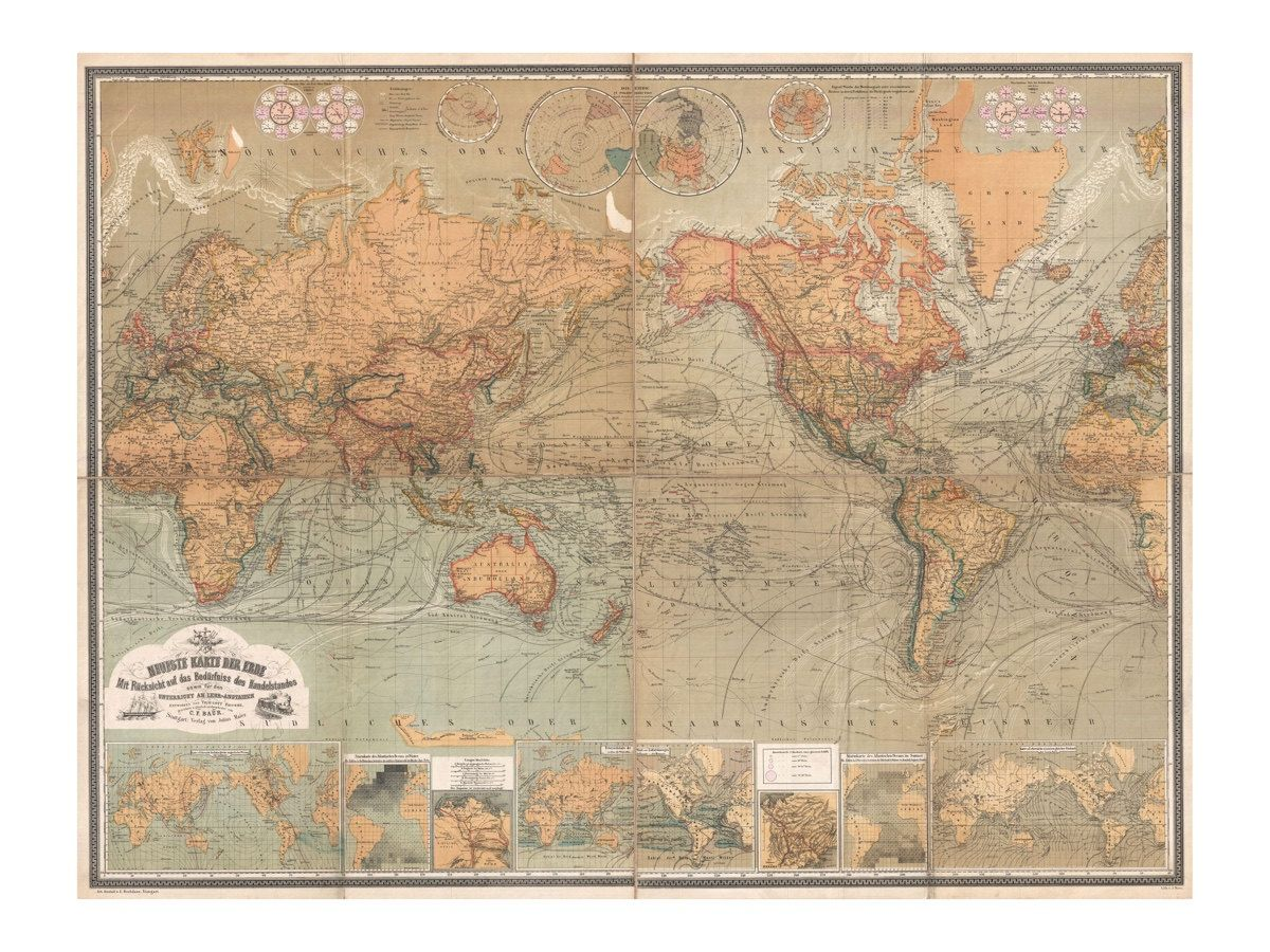 Map of the world antique world map vintage art print wall map of the world antique world map vintage art print wall decor restoration map old maps and prints art giclee german map gumiabroncs Gallery
