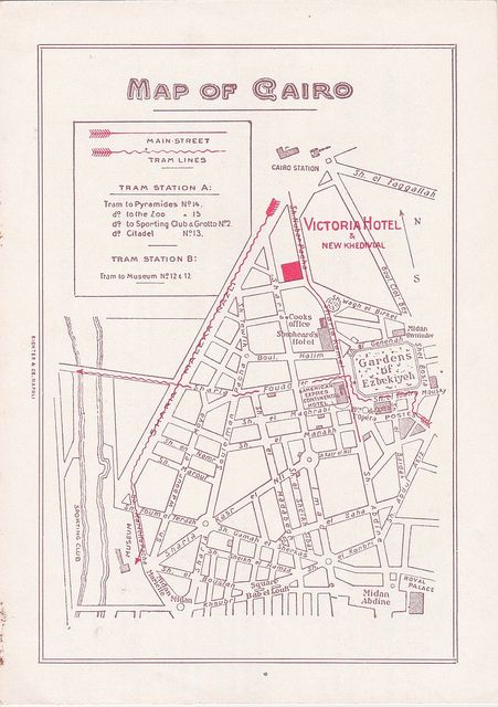Map With Victoria Hotel New Khedivial Cairo Egypt Egypt