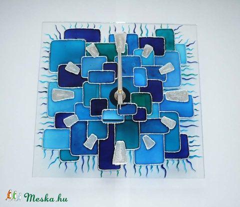 Víz és levegő - kék geometrikus egyedi festett üvegóra, Dekoráció, Otthon, lakberendezés, Falióra, Meska
