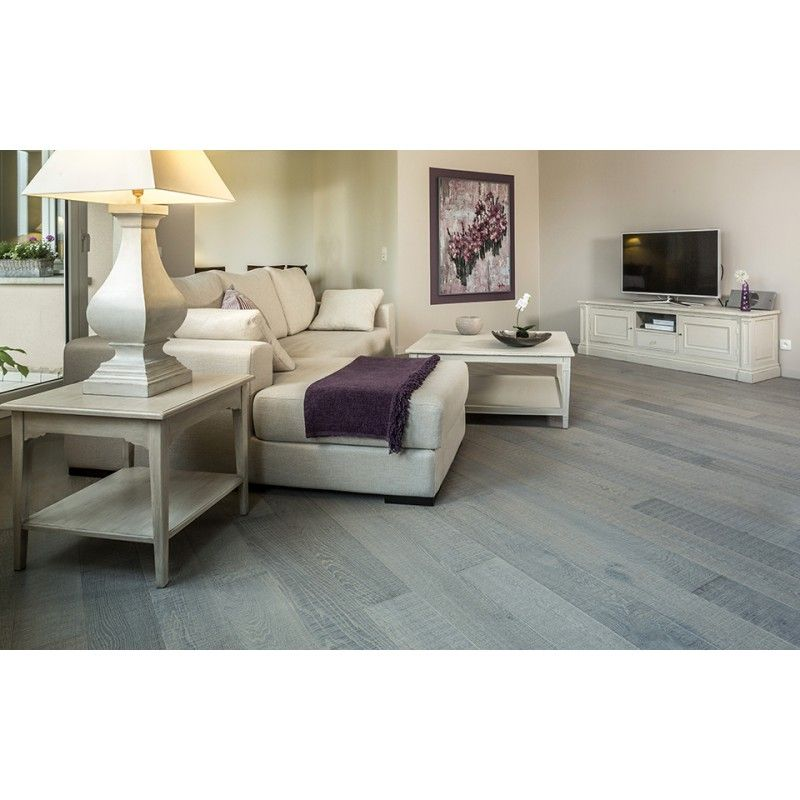 parquet chene massif les sci s gris ciment source deco. Black Bedroom Furniture Sets. Home Design Ideas