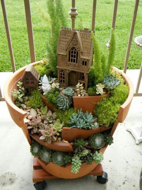 Blumentopf Deko -gestalten Sie Ihren erw nschten mini Garten im - deko garten selber machen holz