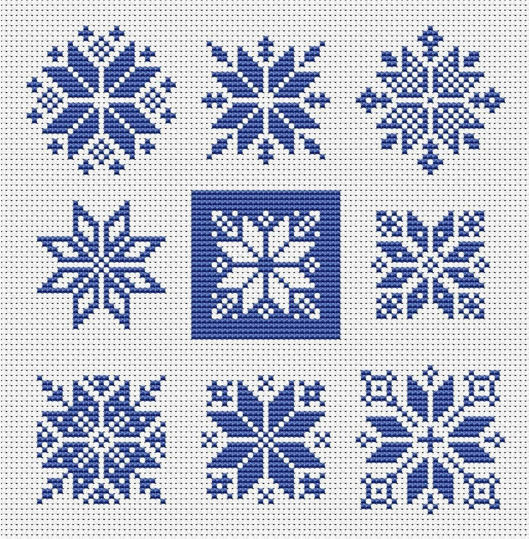 Photo of Nordic Stars Snowflakes Scandinavian Ornaments Christmas Filet Lace Motifs Instant Download Counted Cross Stitch Chart PDF Pattern N172ld