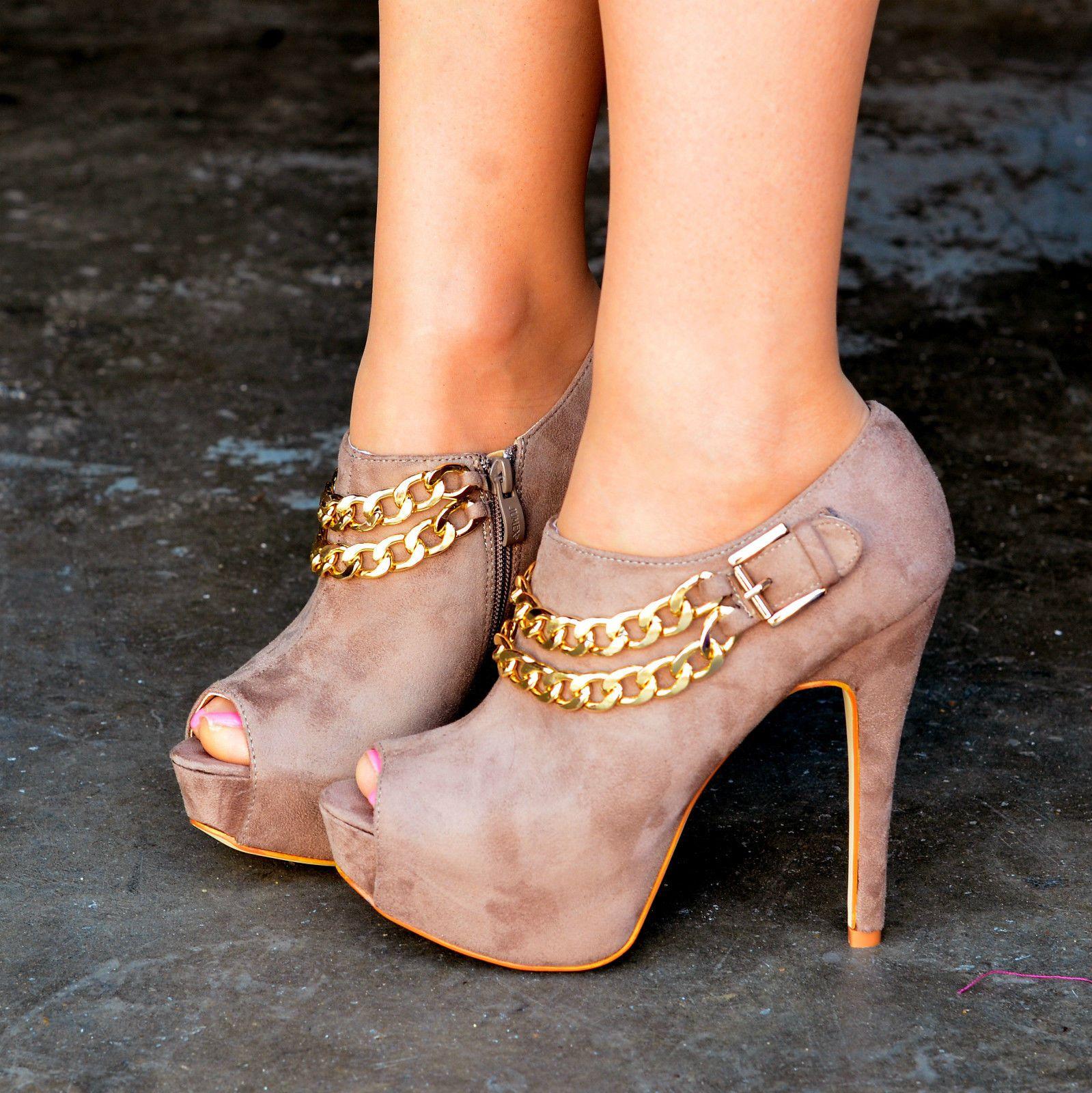 0864d3326b0 Mujer Dorado cadenas Botas De Plataforma zapatos punta abierta Botines |  eBay