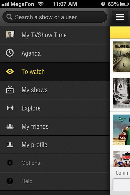 TVShow Time Mobile app, Mobile app design, Web design