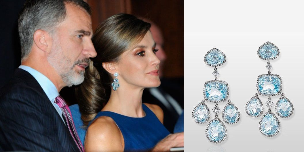 Yanes blue topaz chandelier earrings which have not been seen since yanes blue topaz chandelier earrings which have not been seen since doa letizia first wore them for the wedding of prince nicolas of greece with tatiana aloadofball Image collections