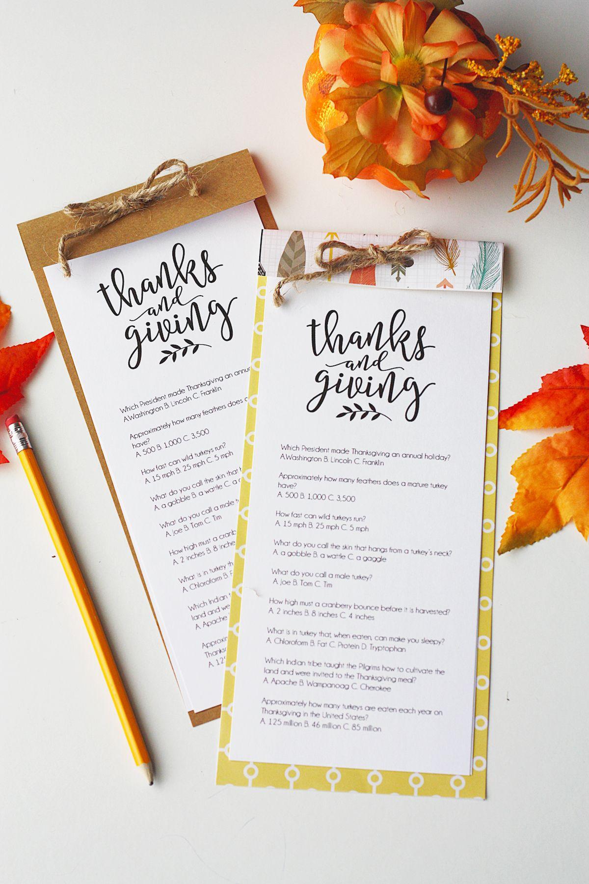Printable Thanksgiving Trivia Thanksgiving Game