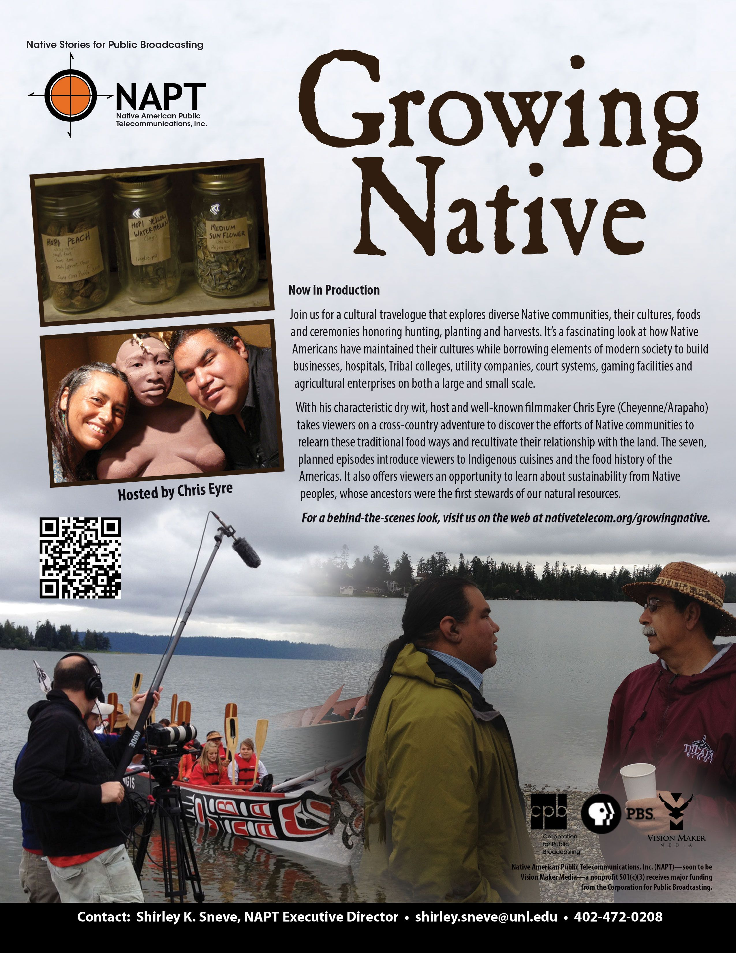 """NAPT Executive Director Shirley Sneve and Host of """"Growing Native"""" Chris Eyre will present footage of the seven-part series at the National Indian Gaming Association Mid Year Conference September 18-19 in Hollywood, Florida!"""