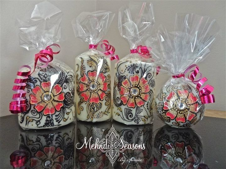 Mehndi For Candles : Personalised mehndi candles with gift wrap for more info or