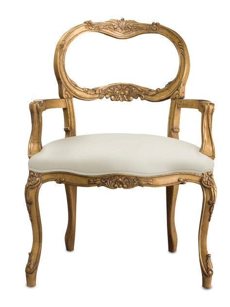 dreamy antique gold and white belvoir chair