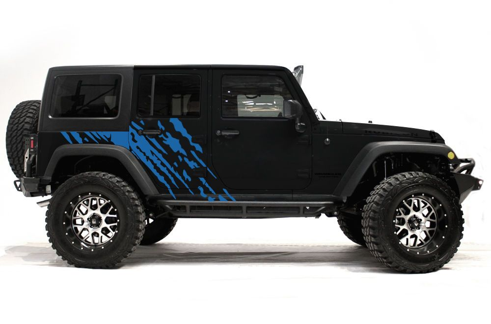 Vinyl Graphics Decal Wrap Kit For 4 Door 07 16 Jeep Wrangler Rubicon Splash Blue In 2020 Jeep Wrangler Interior Jeep Wrangler Rubicon 4 Door Jeep Wrangler