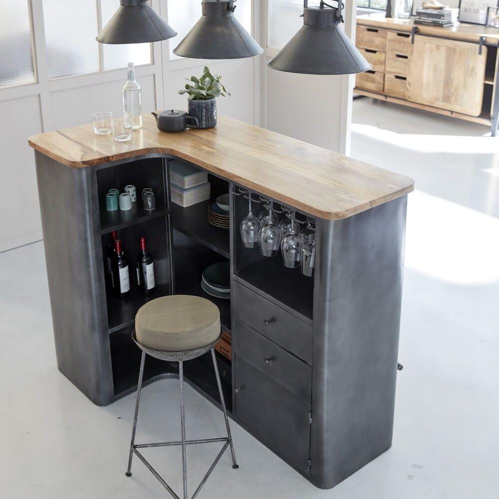 Bar en angle industriel métal gris et plateau en bois en 13