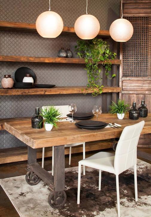 Rustic Industrial Dining Room Www Moeshome Com Decoracion Hogar