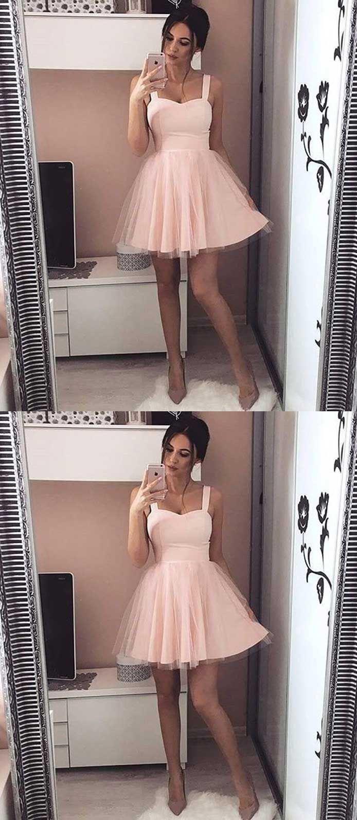 Sweetheart homecoming dress strapslight pink homecoming dresstulle
