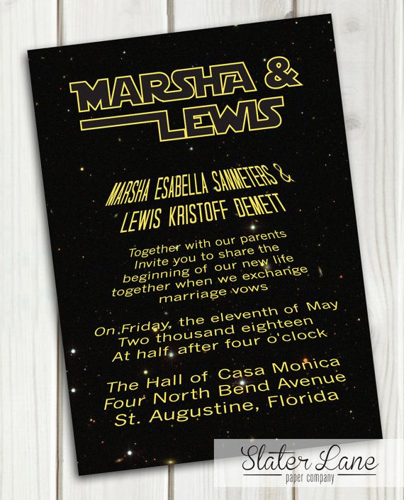 Star Wars Wedding Invitation Theme Printable Download Star Wars Invitations Wedding Invitation Theme Star Wars Wedding
