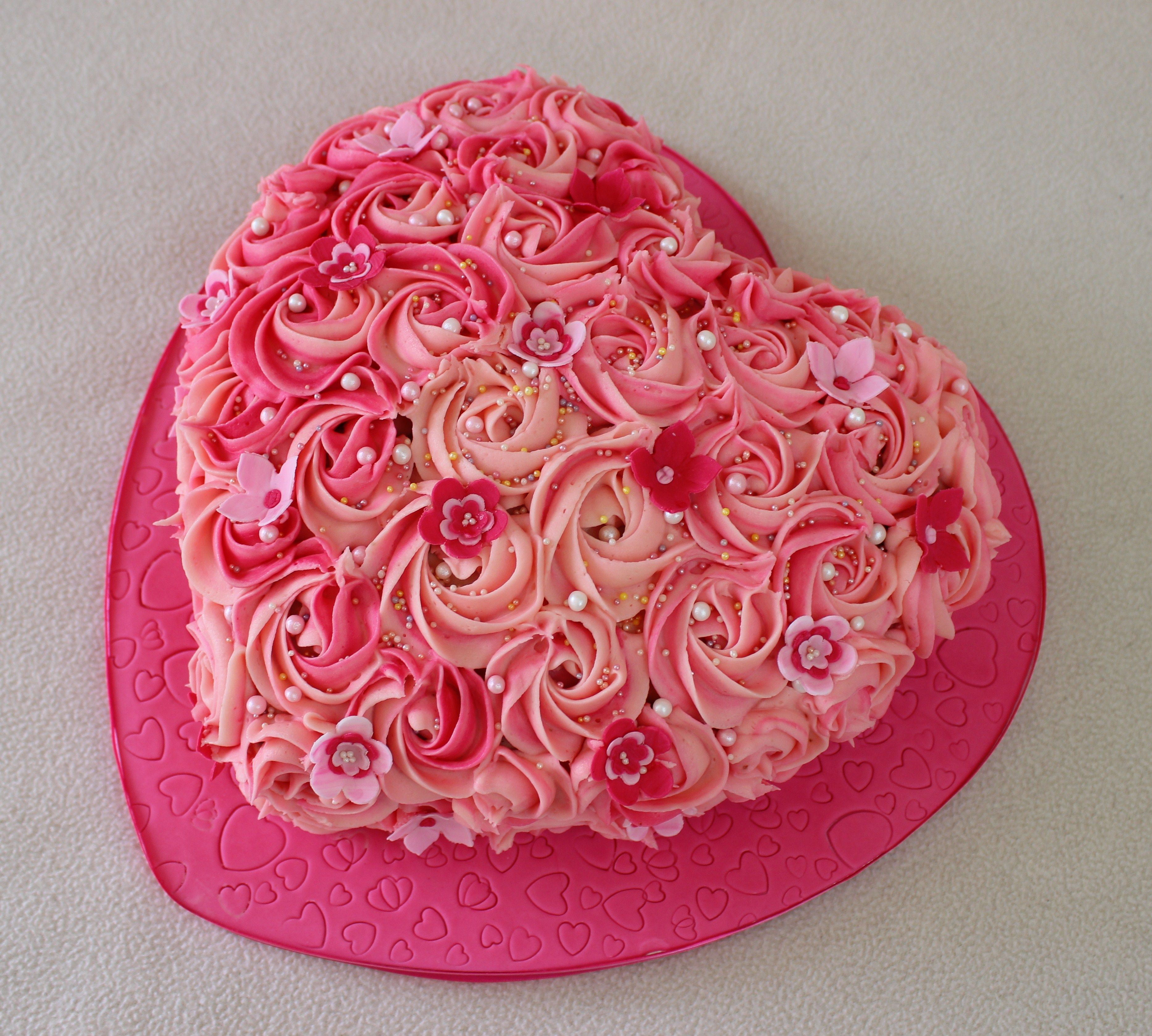 Pink Heart Shape Cake With Buttercream Rose Swirls Cake Heart Shaped Cakes Cake Designs Birthday