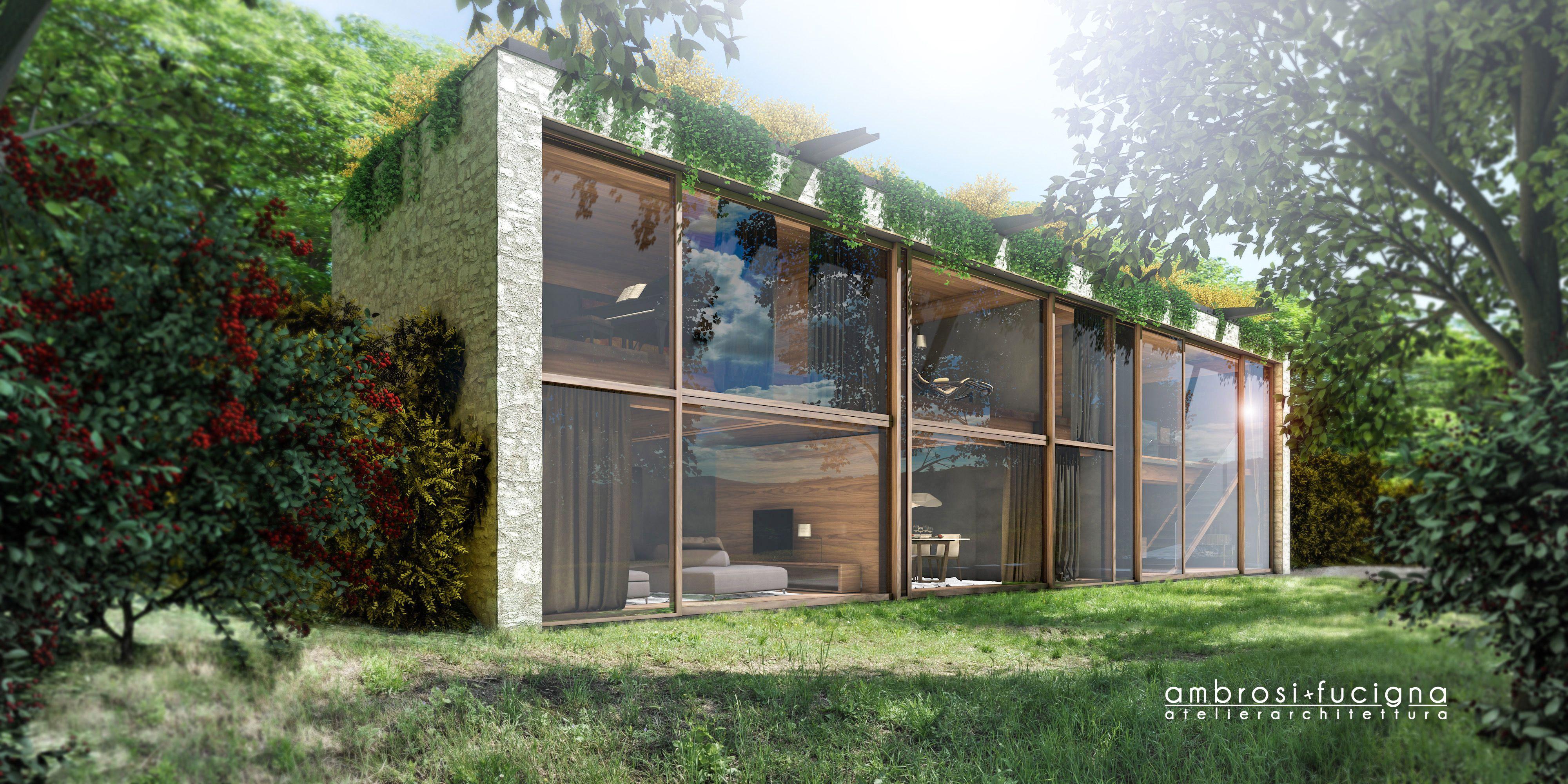 La facciata con le grandi vetrate scorrevoli apribili for Ville con grandi vetrate