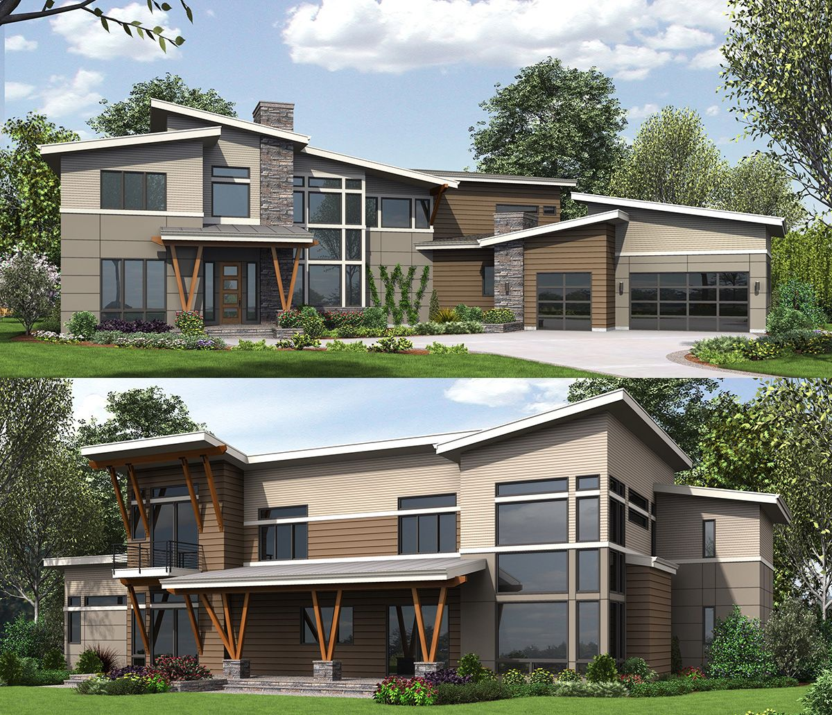 Plan 23627JD Marvelous 4 Bed Modern With Master On Main