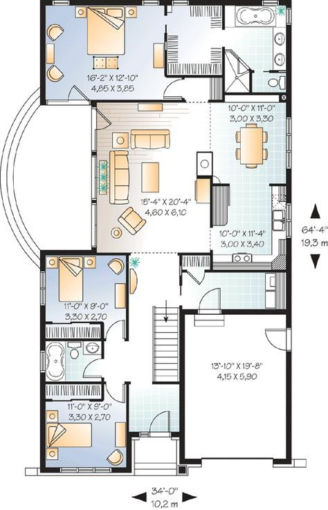 Plan 21526dr Narrow Lot Craftsman Narrow Lot House Plans Drummond House Plans Country House Plans