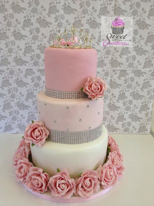 American Style Sweet 16 Birthday Cake LOVE THIS IDEA SWEET PINK WITH DIAMONDS AND TIARAS PRINCESS