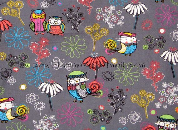 mt106  1 Yard SDLP Cotton Woven Fabric  Cute Owls and by dotcn, $10.00