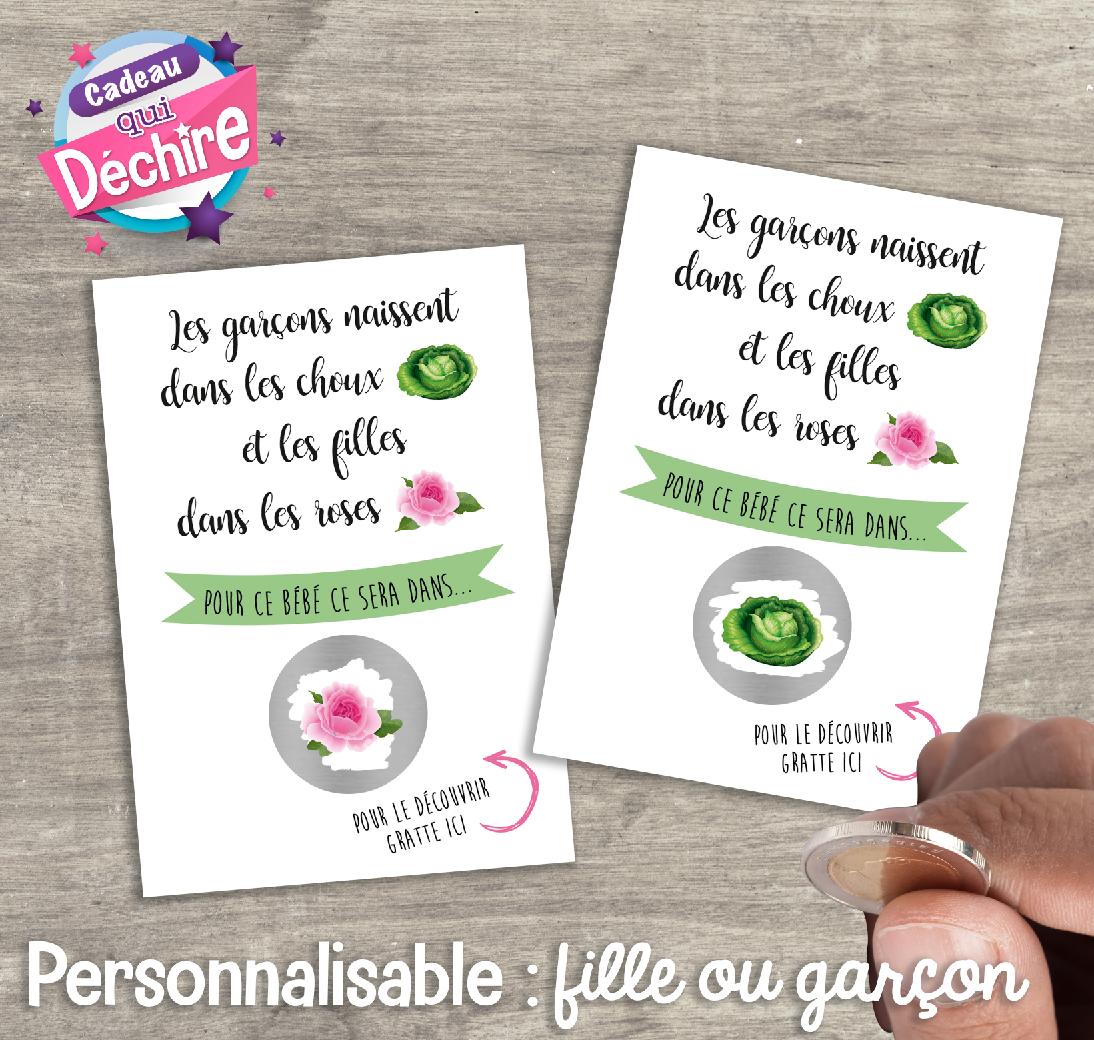 Ticket carte à gratter fille ou garçon – annonce sexe du bébé – Personnalisable : un chou pour garçon ou une rose pour une fille
