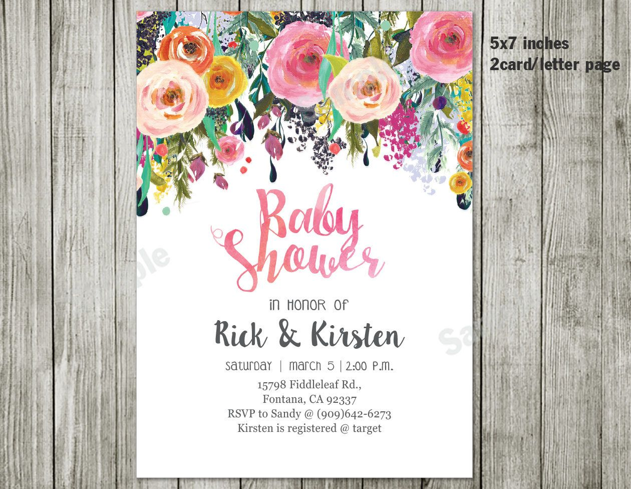 Water color flower invitation - Baby shower - garden floral baby ...