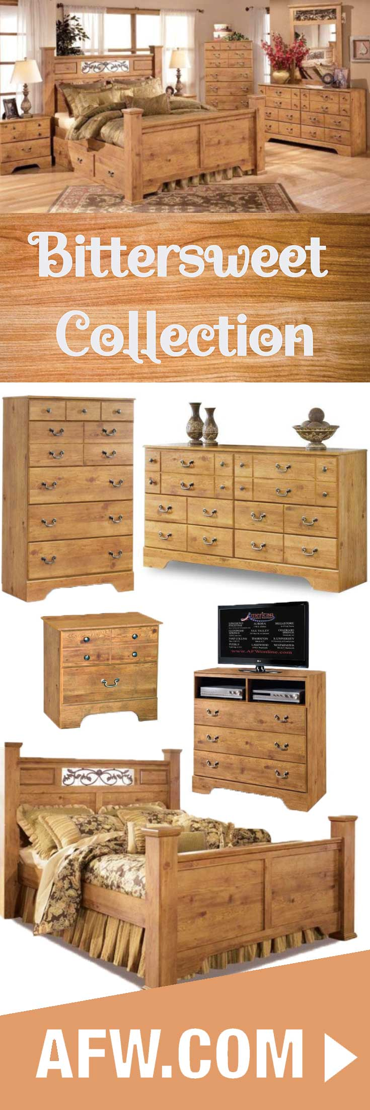 Relax in rustic comfort with the Bittersweet 5 Piece Bedroom Set ...