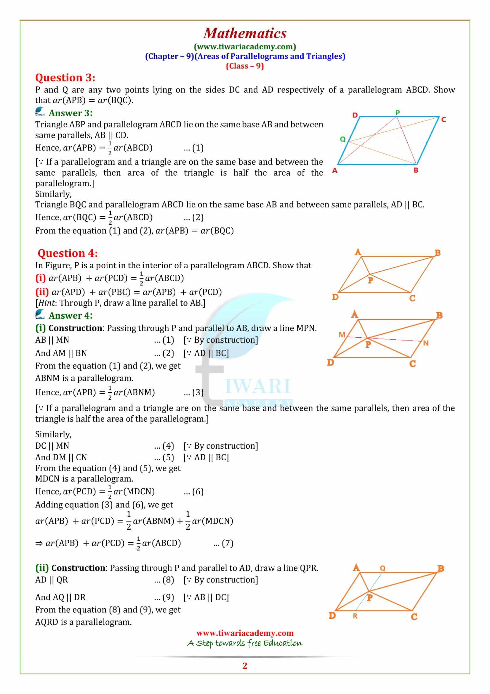 Ncert Solutions In Hindi Medium For Class 9 Maths Solutions Math Class [ 2339 x 1654 Pixel ]
