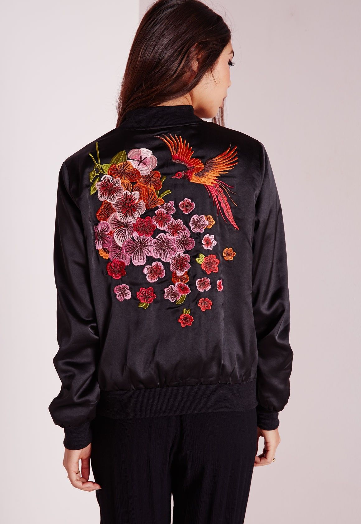 Bomber Embroidered Oriental Style Jacket Satin Black vHxCq