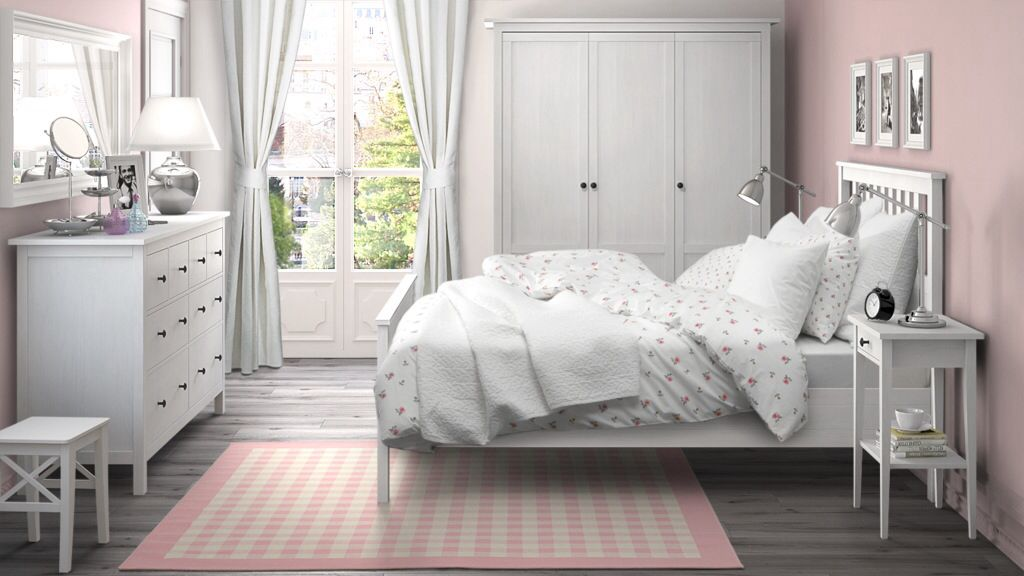 pink walls white furniture | Bedroom Highgate | Ikea bedroom, Ikea ...