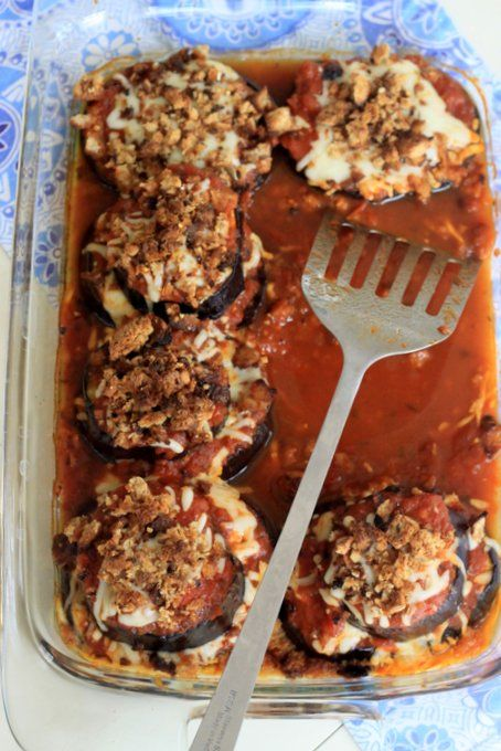 Easy Eggplant Parmesan -- Stacked layers, individual portions, NO FRYING, just roasted, delicious eggplant with oozing cheese and toasted breadcrumbs.
