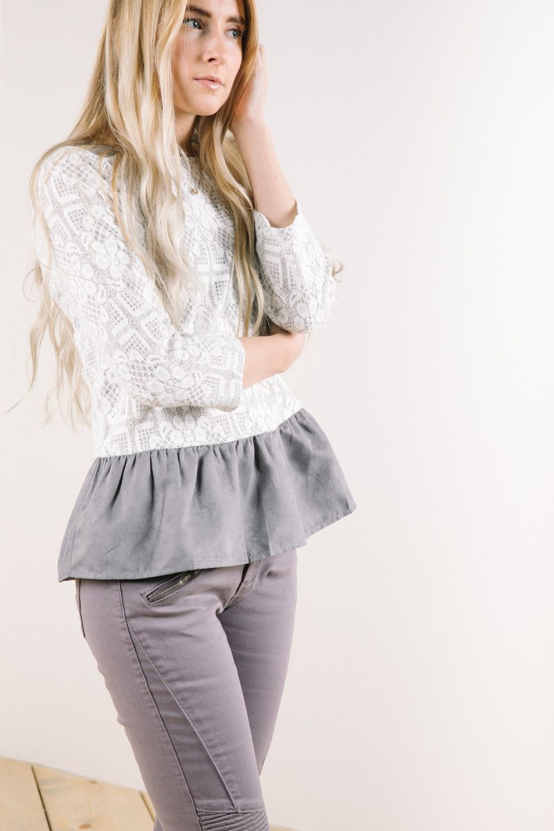 The Rivington Lace Peplum in Grey