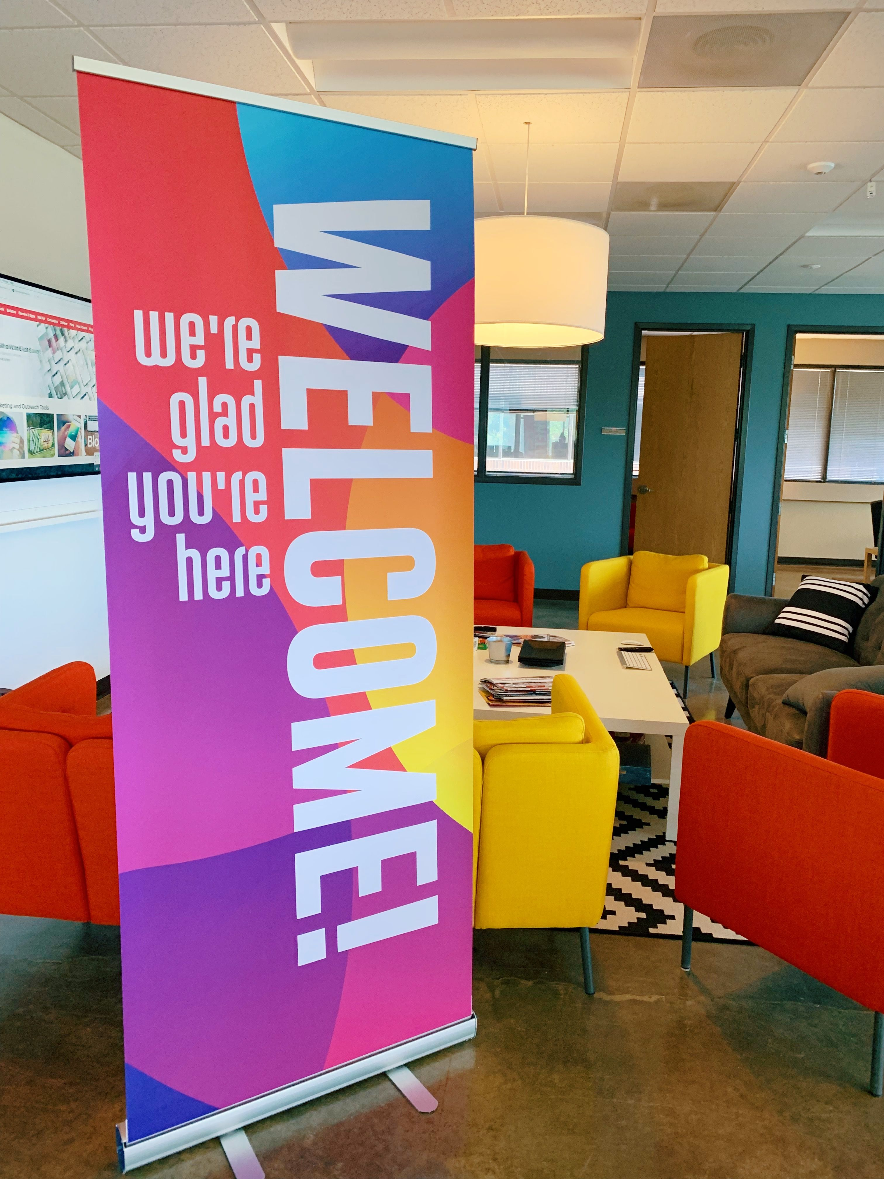 Curved Colors Welcome Banner Outreach Welcome Design Church Lobby Design Indoor Banner