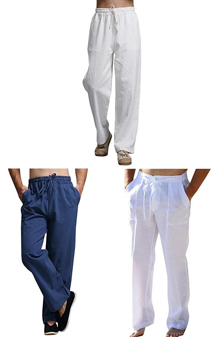 41447bb664 Enjoybuy Mens Summer Cotton Linen Long Casual Pants Elastic Waist Loose Fit  Beach Pants|men