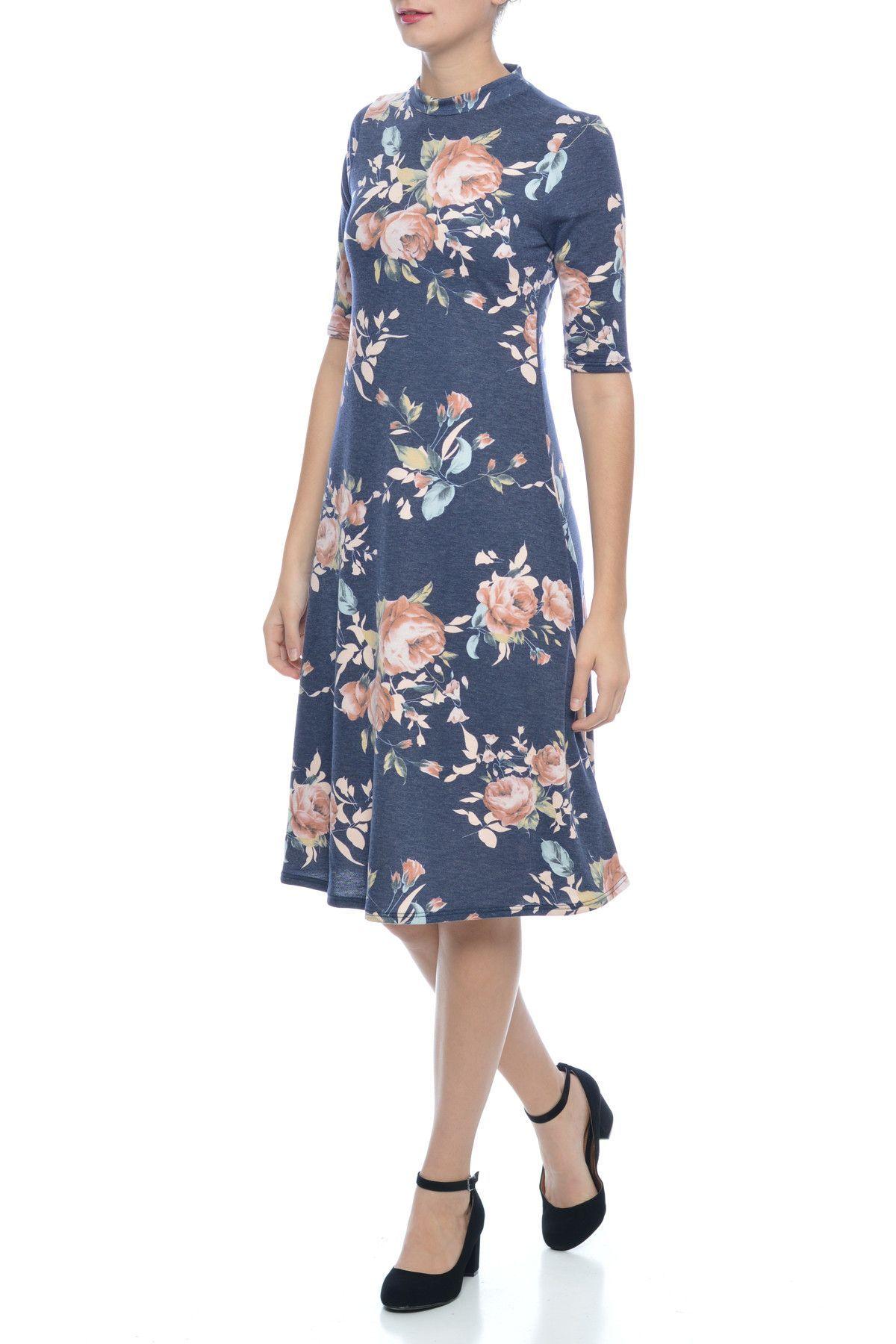 Grace Floral Swing Dress in Blue