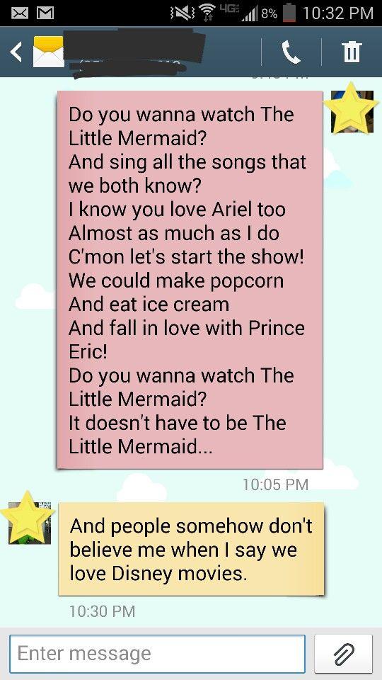 Do you wanna watch The Little Mermaid? :)