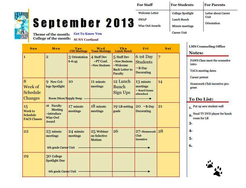 The Middle School Counselor Whatu0027s In Your School Counseling - sample school calendar
