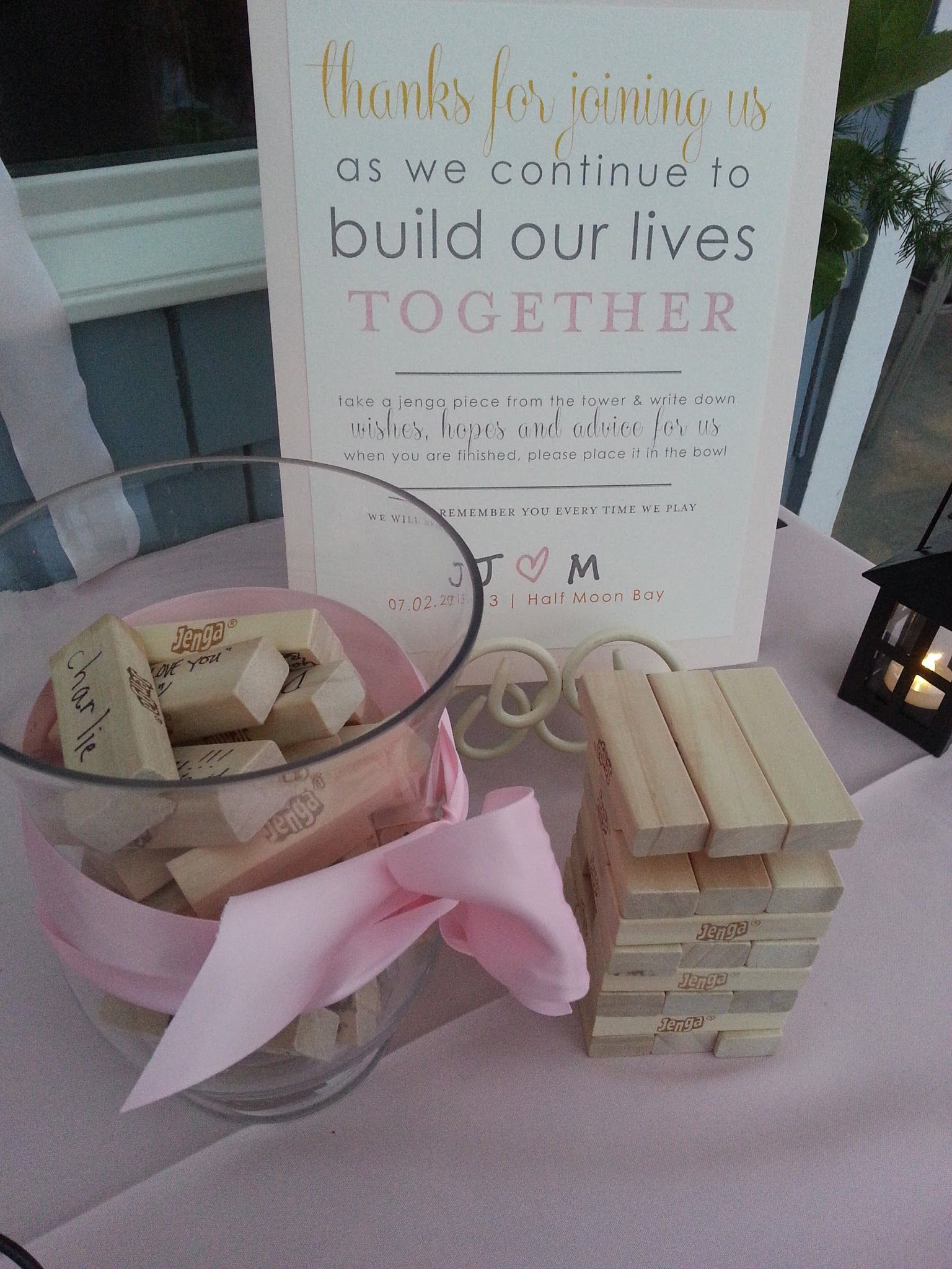 jenga guest book sam 39 s chowder house wedding inspiration pinterest einweihungsparty. Black Bedroom Furniture Sets. Home Design Ideas