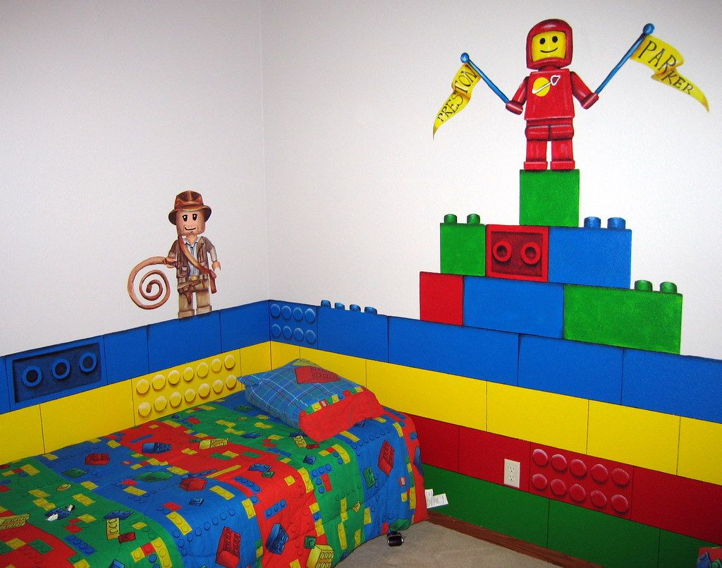 brick lego room for the toy room - Boys Room Lego Ideas