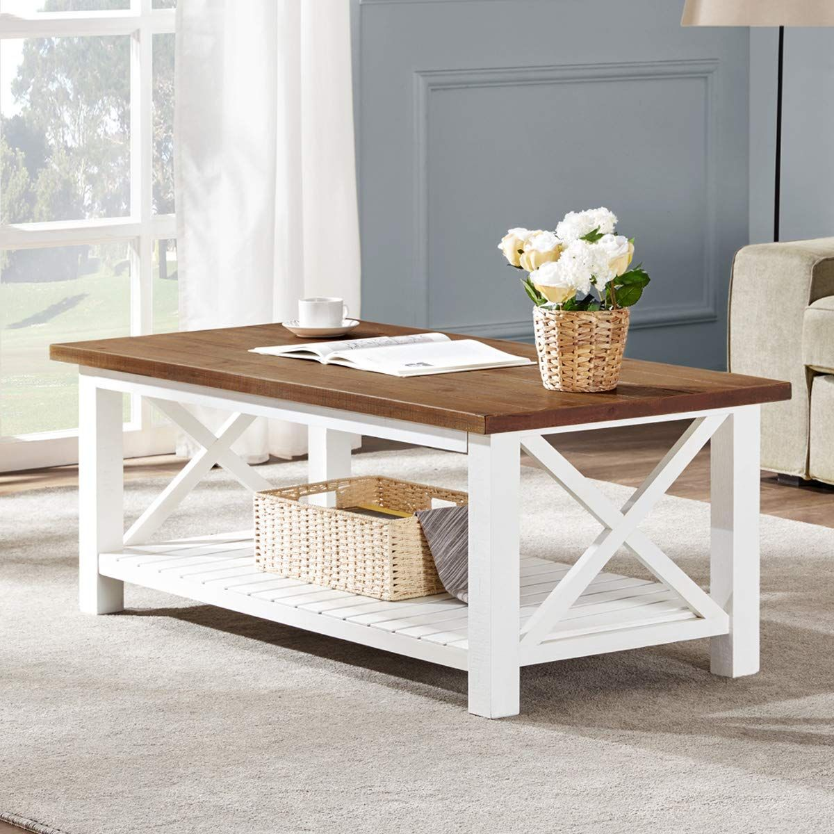 two tier coffee table rectangle