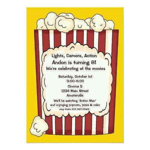 Movie birthday invitations popcorn invitation movie birthday party movie birthday invitations popcorn invitation filmwisefo