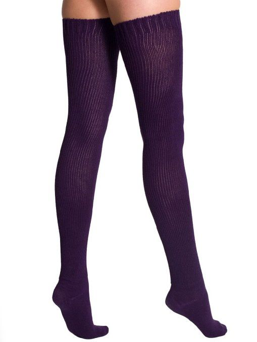 33c7ee5ac9f Amazon.com  American Apparel Cotton Solid Thigh-High Socks -Imperial  Purple  Clothing
