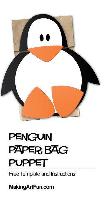 Penguin Paper Bag Puppet Craft for Kids - MakingArtFun - penguin template