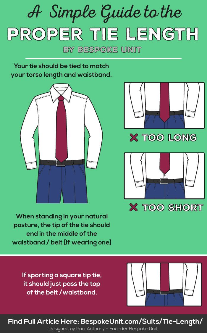 d8d5d1dbf9c9 Tie Length Guide in 2019 | Mens fashion tips | Tie length, Mens ...
