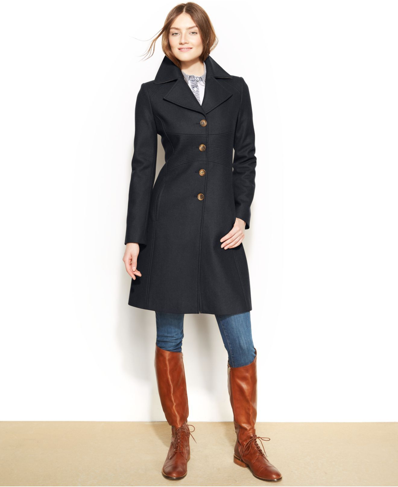 New Tommy Hilfiger Womens Wool Blend Coat Navy Gray NWT